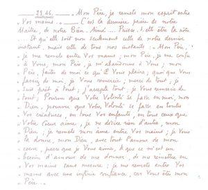 Manoscritto della meditazione Lc 23, 46